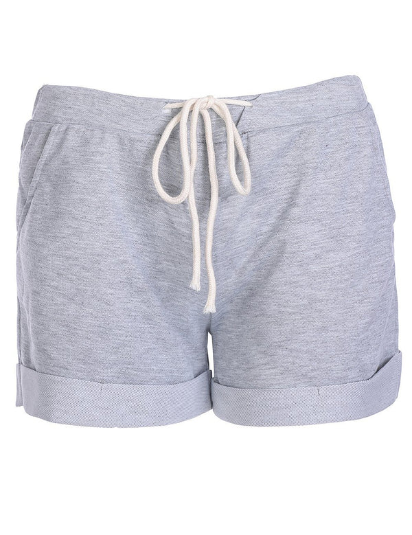 Women's Grey High-Rise Tied Summer Sports Shorts - Fancyqube