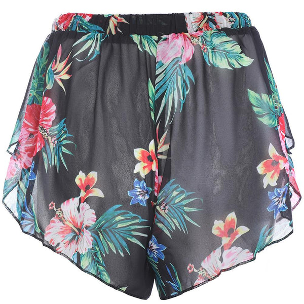 Black Tropical Printed Beach Shorts - Fancyqube
