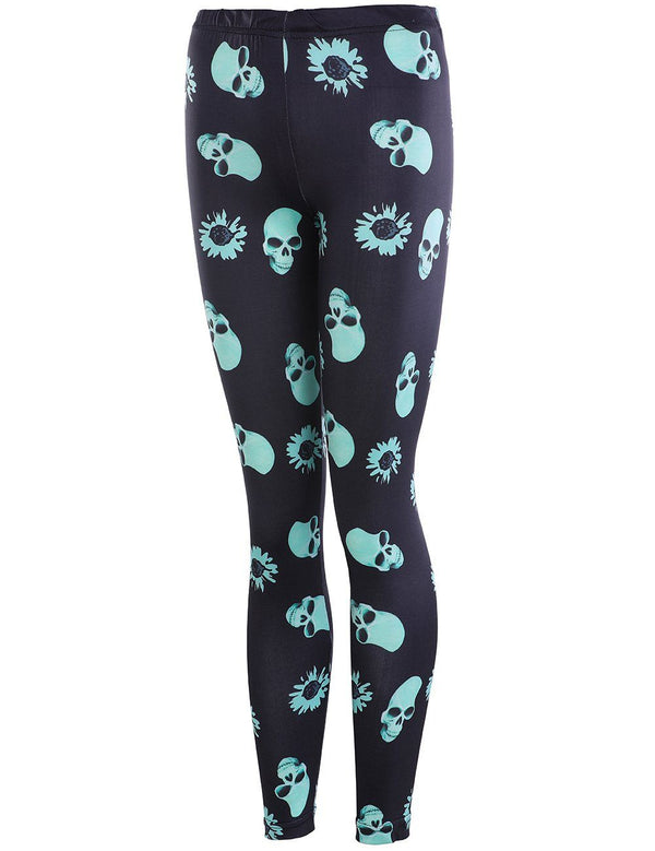 Skull Printed Elastic Black Sports Leggings - Fancyqube