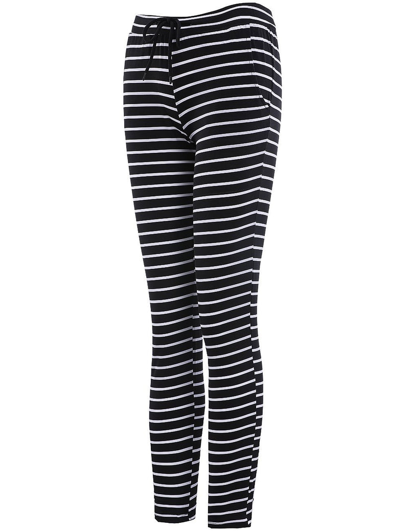 Fashion Womens Black and White Striped Casual Pants - Fancyqube