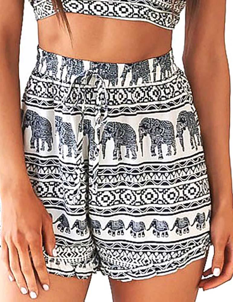 Elephant Printed White Beach Sports Shorts - Fancyqube