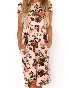 Round Neck Short Sleeve Floral Printed with Pockets Pink Midi Dress