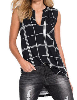 V-Neck Sleeveless Summer Cool Sexy Striped Blouse - Fancyqube