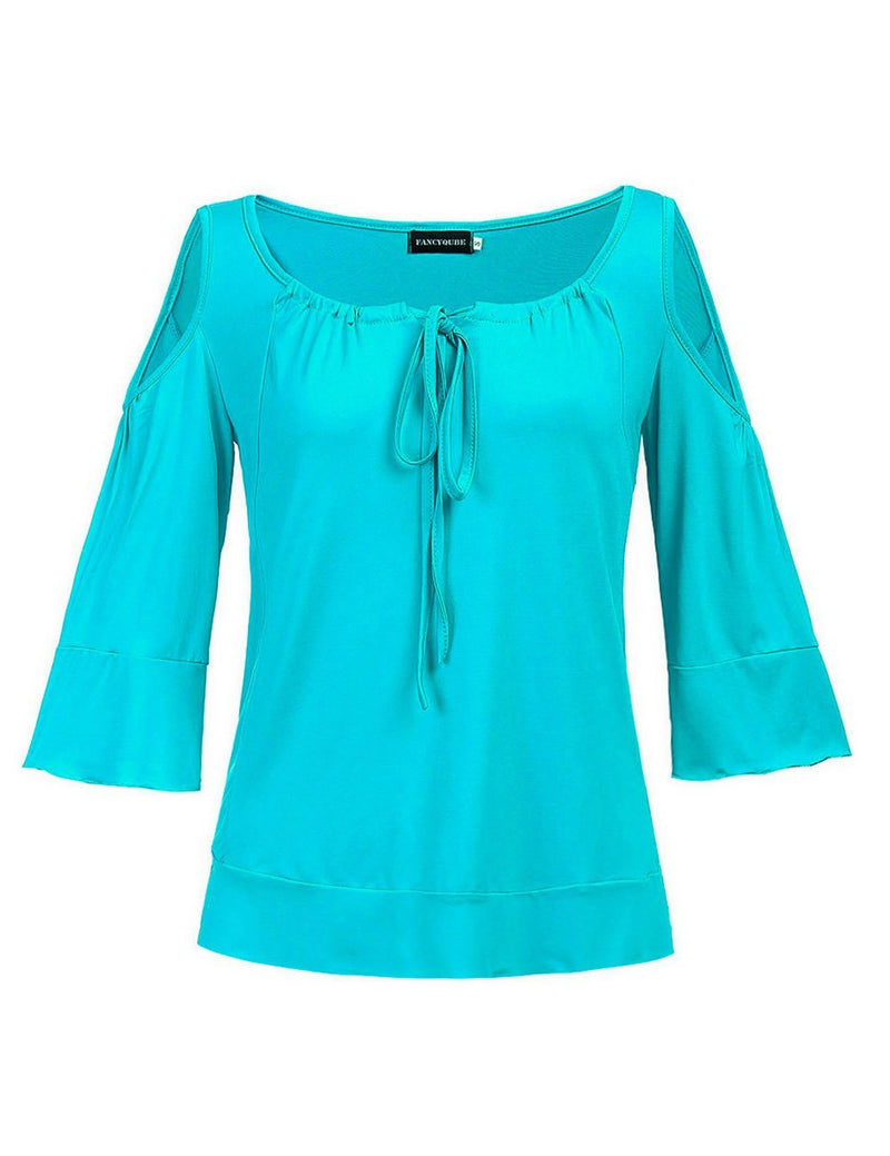 Big U-Neck Off-the-Shoulder Half Sleeve Sexy Leisure Top - Fancyqube