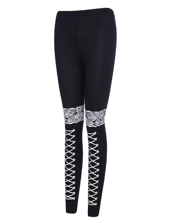 Lace Printed Women Black Sports Pants - Fancyqube