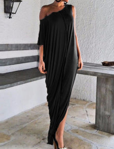 One Shoulder Loose Fitted Maxi Dress - Fancyqube