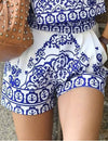 Blue and White Floral Printed Shorts