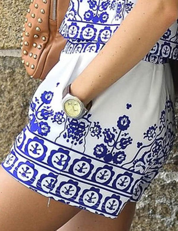 Blue and White Floral Printed Shorts - Fancyqube