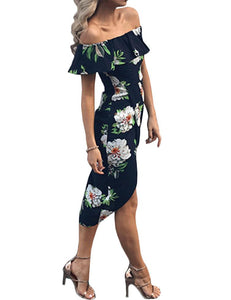 Sheath Off-the-Shoulder Ruffled Floral Printed Navy Blue Dovetail Midi Dress