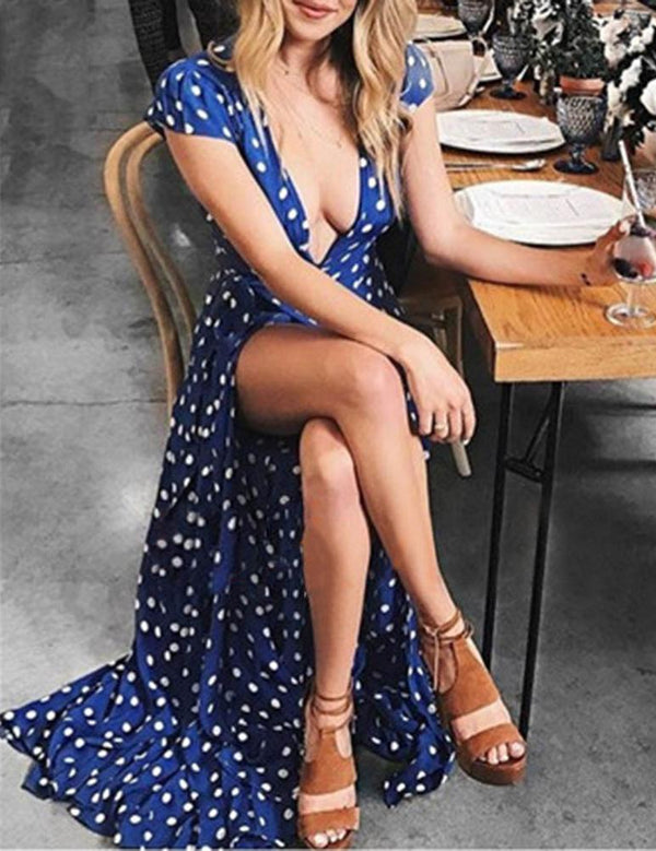 Boho Long Polk Dot Blue Summer Evening Beach Maxi Dress