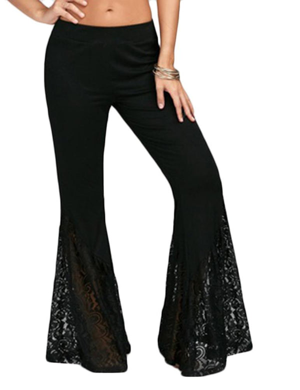 High Waist Patchwork Lace Bell Bottom Pants - Fancyqube