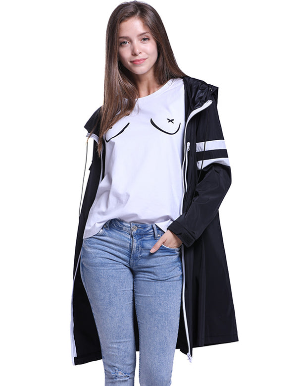 Women's Cool Long Sleeve Waterproof Medium Long Hooded Jacket