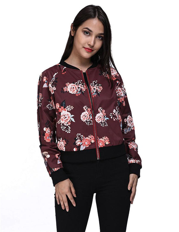 Long Sleeve Printed Zipper Casual Burgundy Jacket Coat - Fancyqube