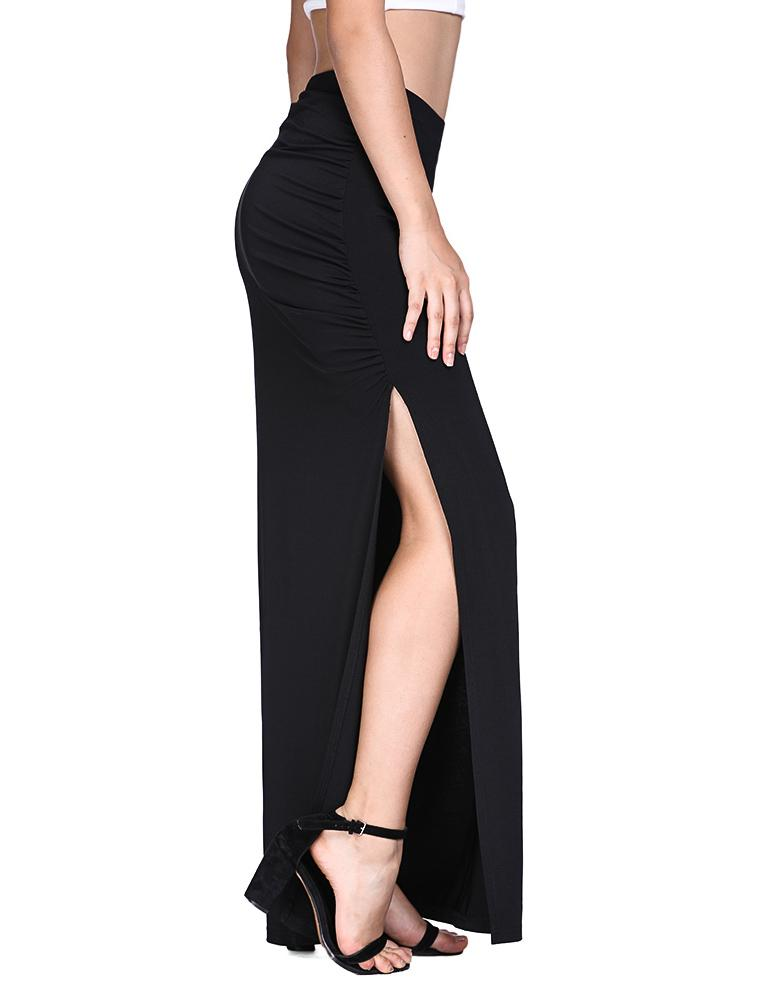 High Waist Slit Leg Black Floor-Length Sexy Skirt - Fancyqube
