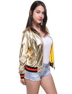 Fashion Zipper Long Sleeve Gold PU Jacket