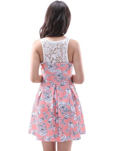 Scoop Sleeveless Pink Printed Rose Casual Dress With Lace