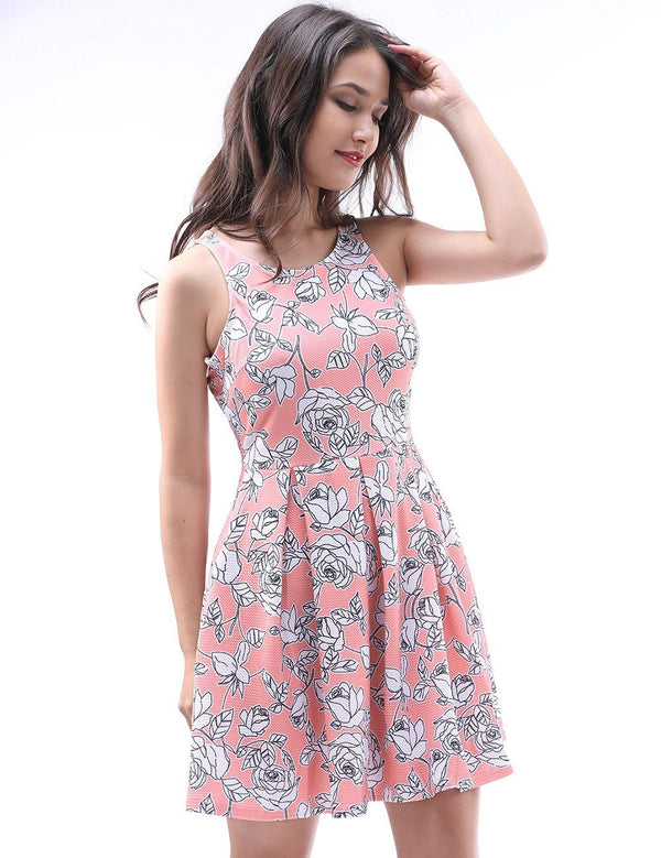 Scoop Sleeveless Pink Printed Rose Casual Dress With Lace - Fancyqube