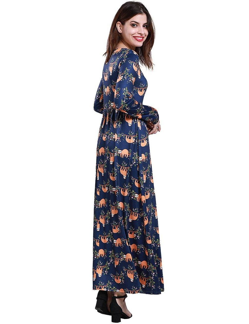 Sloth Print Long Sleeve Navy Blue High Waist Skirt - Fancyqube