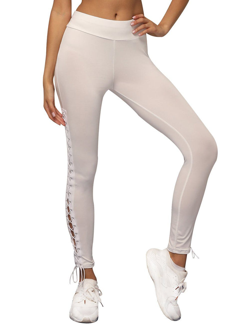 Slim eyelet straps sweatpants - Fancyqube