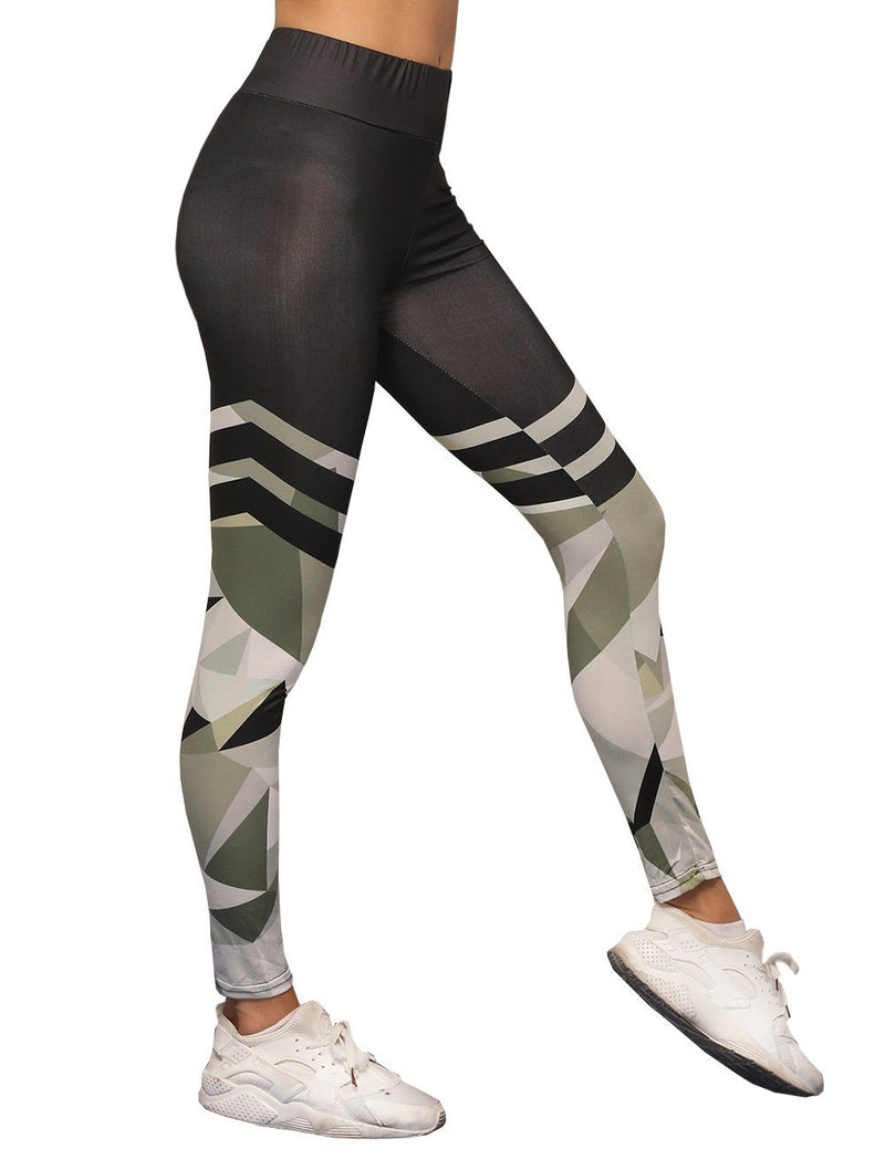 Camouflage printed mosaic sports yoga pants - Fancyqube