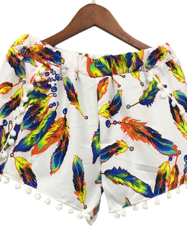 Elastic waist ball feather print shorts - Fancyqube