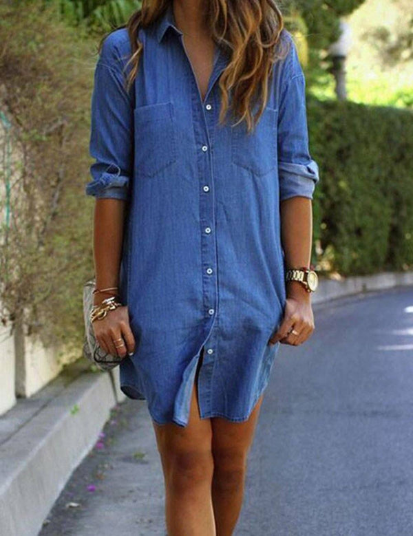 Long Sleeve with Pockets Denim T-Shirt Mini Dress - Fancyqube