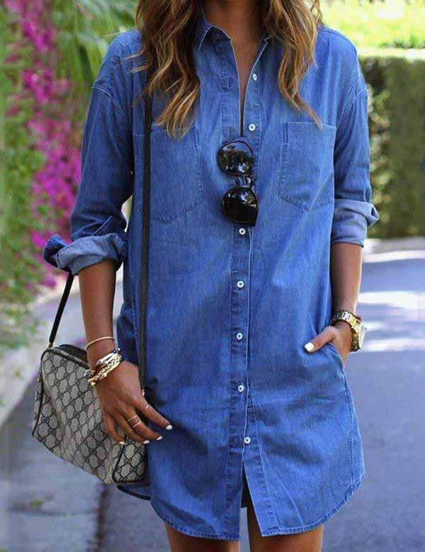 Long Sleeve with Pockets Denim Mini Dress