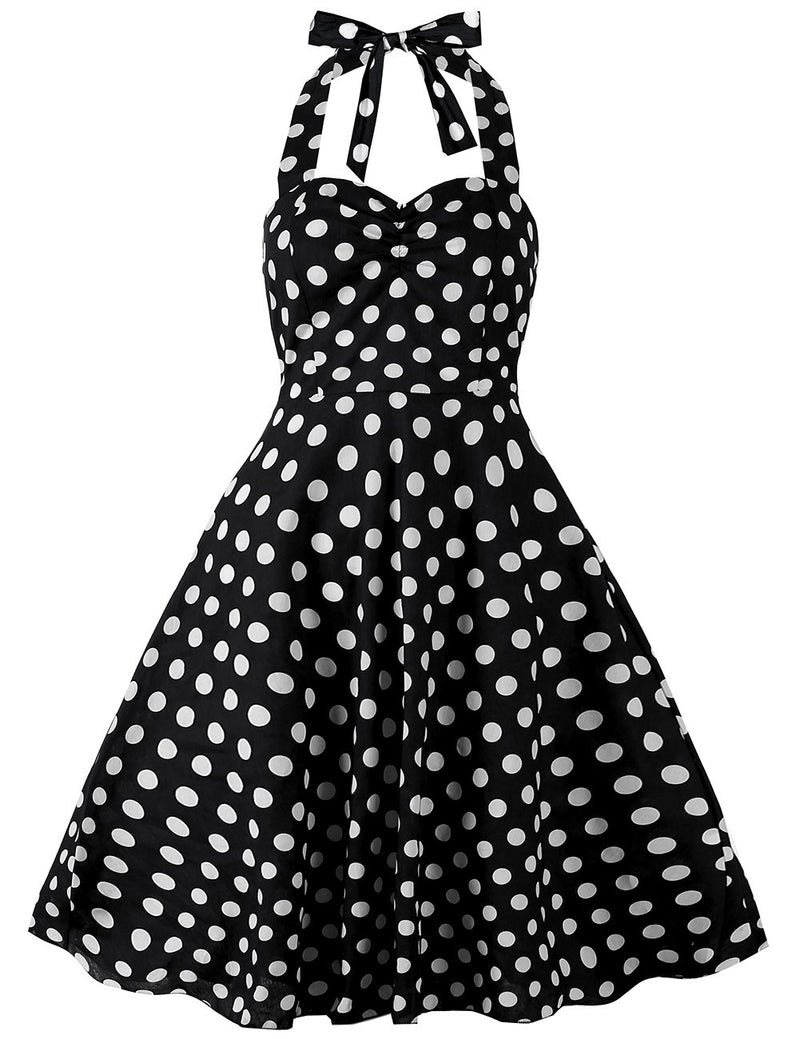 Halter Classial Polka Dots Sexy Petite Prom Long Party Dress - Fancyqube