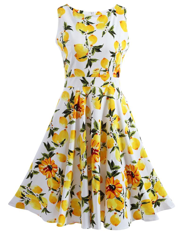 Boat Neck Sleeveless Floral Printed Summer Cool Mini dress