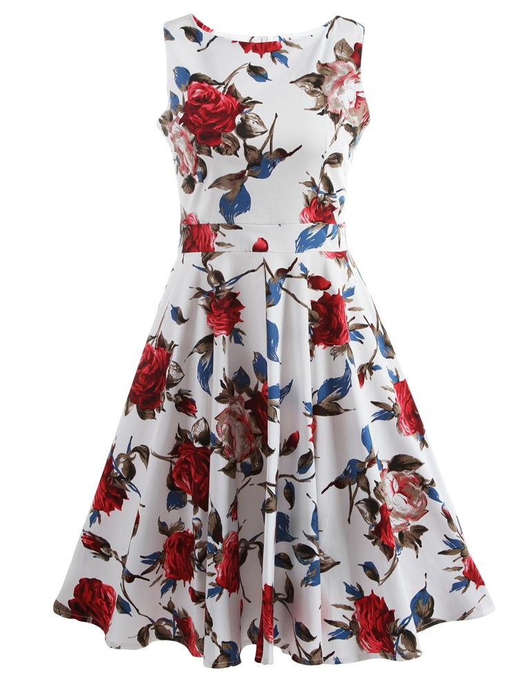 Boat Neck Sleeveless Floral Printed Summer Cool dress - Fancyqube