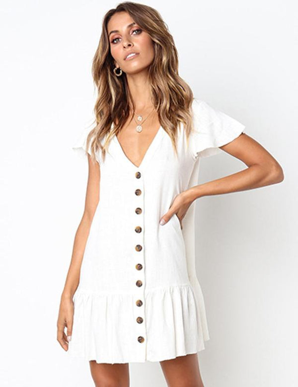 Casual A-Line V-Neck Slip Button Mini Dress