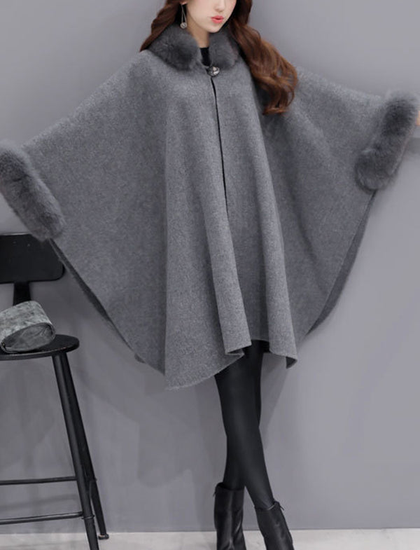 Winter New Fur Collar Irregular Long Cape Shawl Woolen Coat