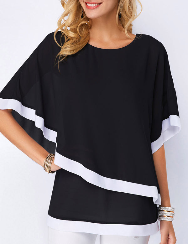 Women Splicing Irregular Chiffon Blouse