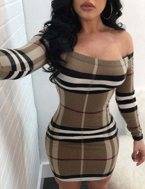 Women Sexy Off Shoulder Long Sleeve Striped Bodycon Dress