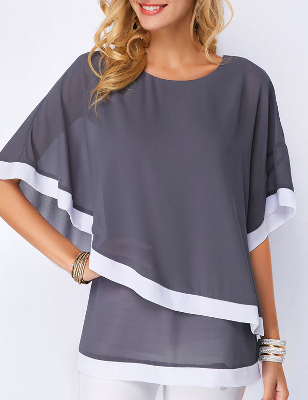 Bat-wing Sleeve Chiffon Blouse