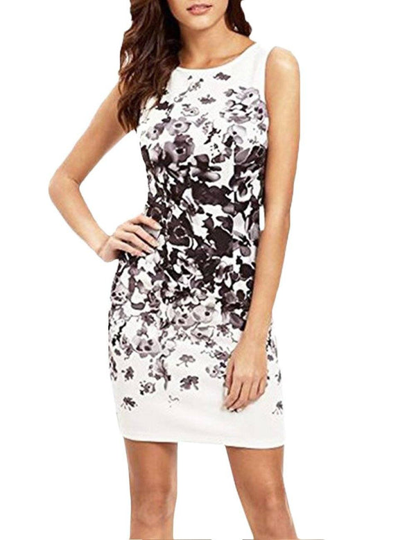 Round Neck Ink Style Sleeveless Print Mini Dress - Fancyqube