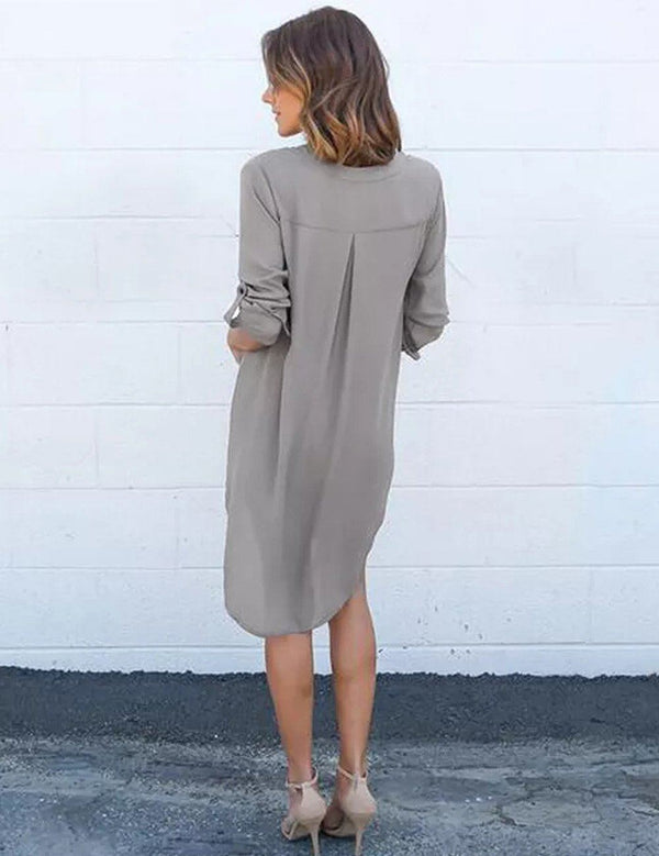 Autumn Long-Sleeved V-Neck Simple Chiffon Mini Dress