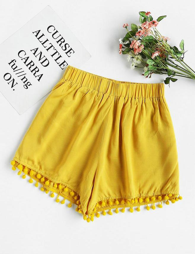 Simple Shorts With Tassel Hem - Fancyqube