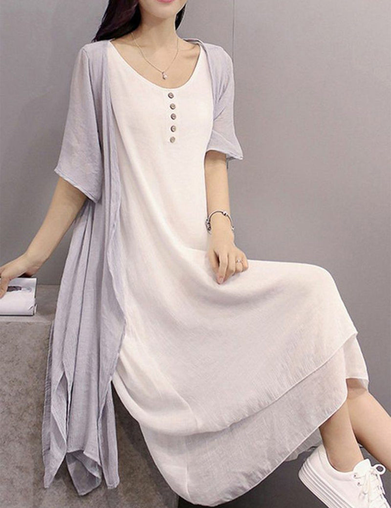 Women Crew Neck Two Piece Daytime Half Sleeve Casual Midi Dress - Fancyqube