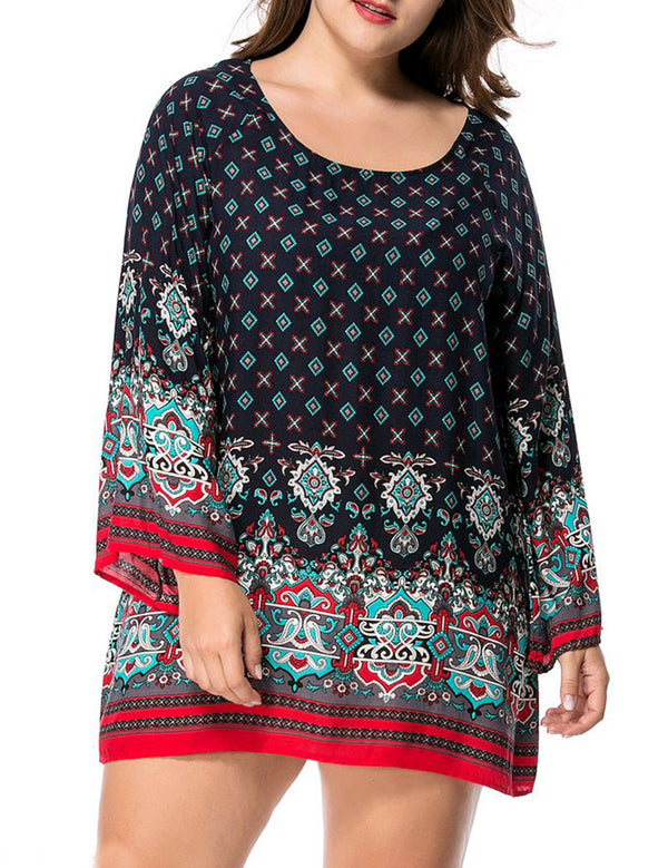 Retro Ethnic Baroque Printed Plus Size Casual Long Sleeve Mini Dress