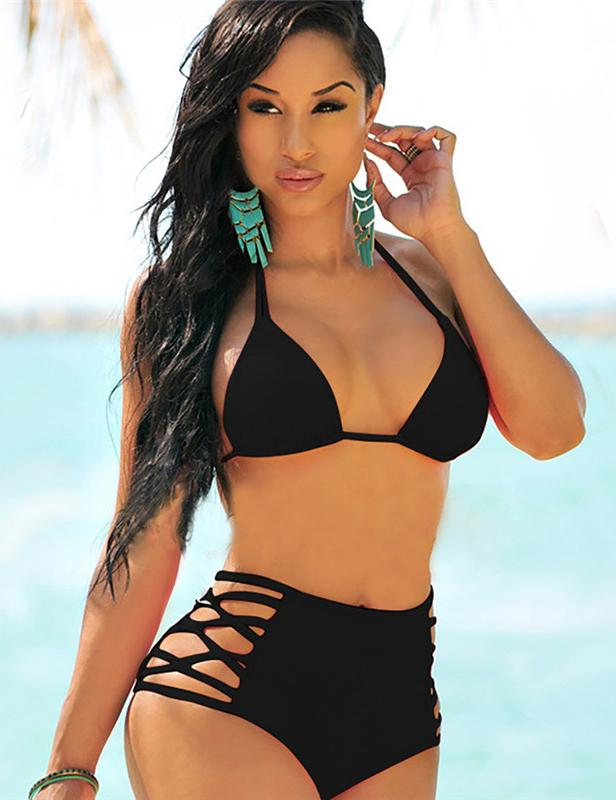 High-waist Hollow Stitching Bikini Swimwear Set - Fancyqube
