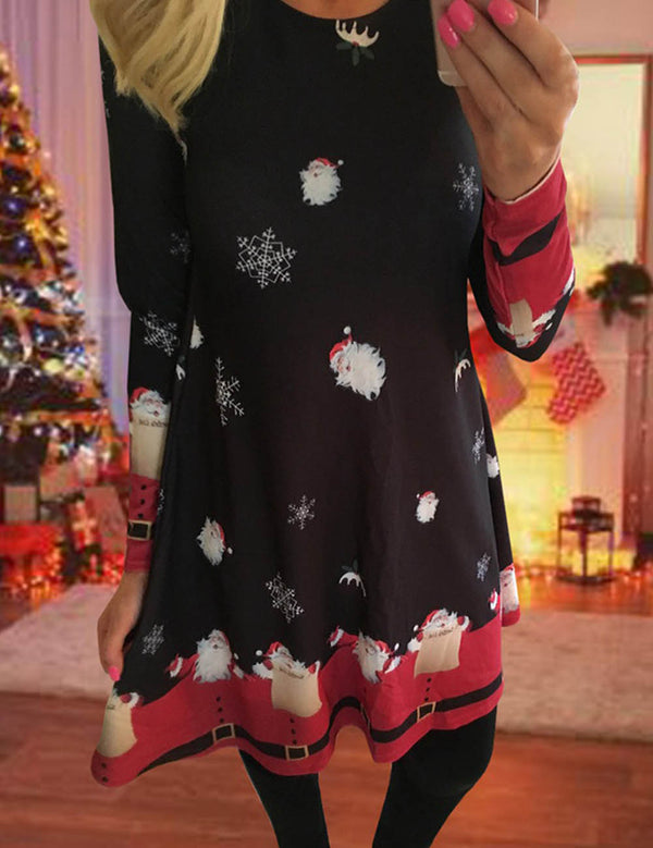 Women's Fashion Christmas Print Black Christmas Snowman A-line Dress