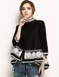 National Style Stand Collar Embroidered Floral Loose Hem Beaded Blouse