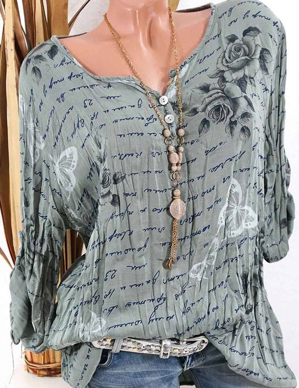 Button V-Neck Long-Sleeved Large Size Printed Blouse