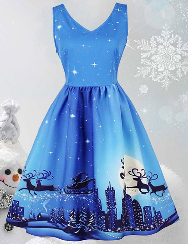 Sleeveless Christmas Elk Santa Claus Print Retro Party Dress