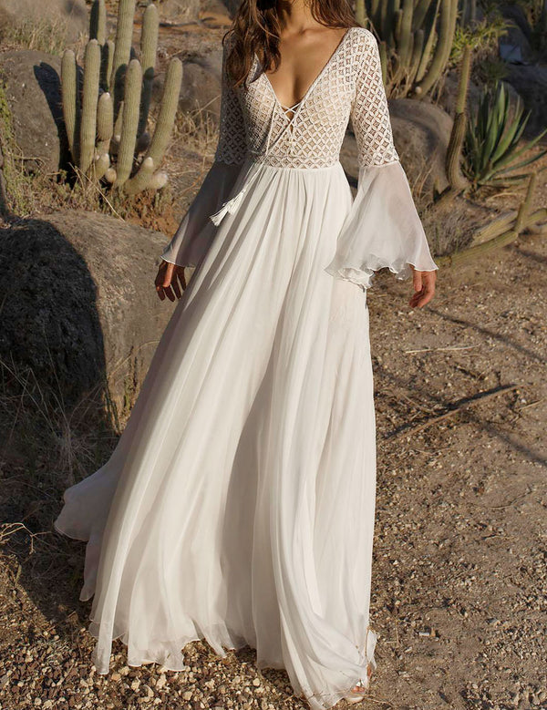 Sexy V-Neck Flare Sleeve Tie Front Lace Up Boho Maxi Dress