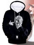 BTS KPOP Solid Black 3D Print Bangtan Boys Pullover Hooded Sweatershirt
