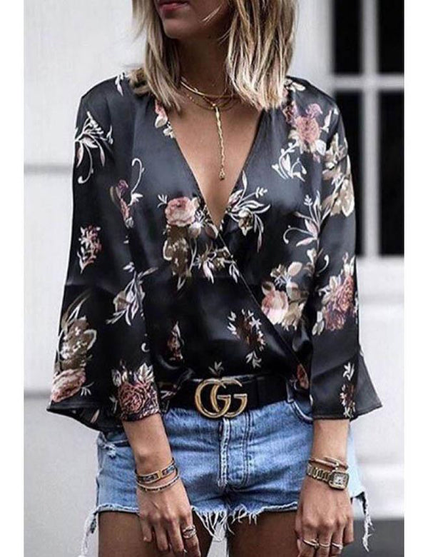 Dark blue Floral Digital Print Cross Long Sleeve Top - Fancyqube