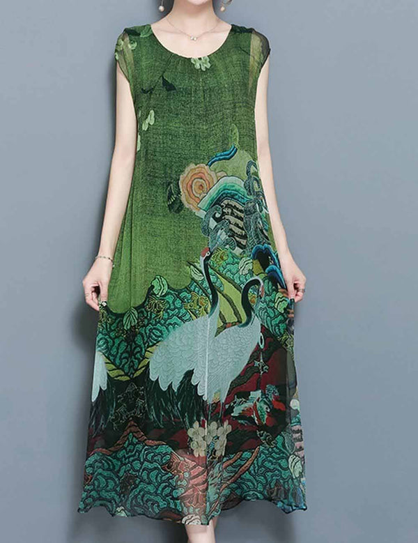Round Neck Cap Sleeve Floral Maxi Dress with Sashes