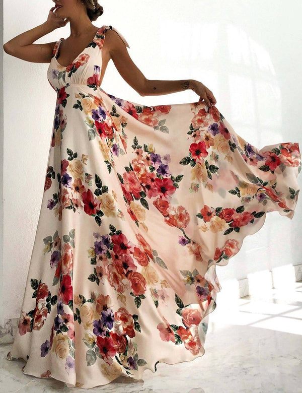 Sexy V-Neck Sleeveless Backless Floral Print Maxi Dress